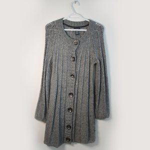 Knitted Cosy Loose Grey Cardigan Sweater
